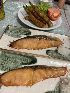 アスパラの豚肉巻き&焼鮭