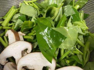 空心菜と椎茸