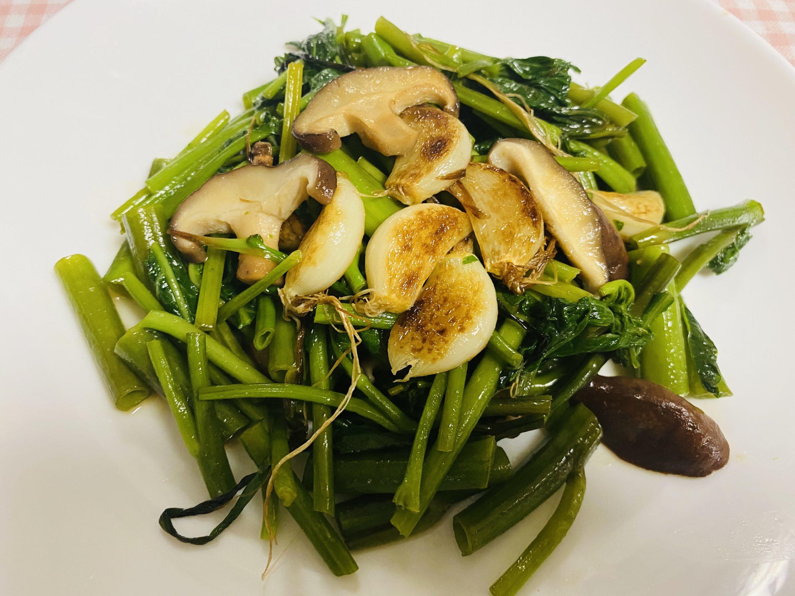 空心菜と大蒜炒め